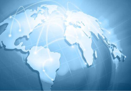 Bild Weltkarte mit Verbindungslinien weltweit